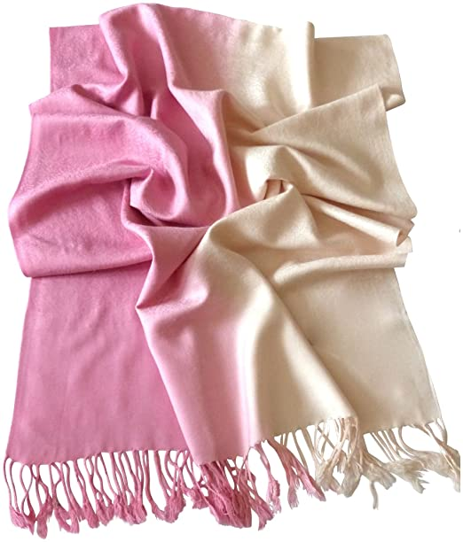 a37d7a6d7ee Baby Pink Two Tone Design Shawl Scarf Wrap Stole Pashmina Shawls Pashminas  NEW