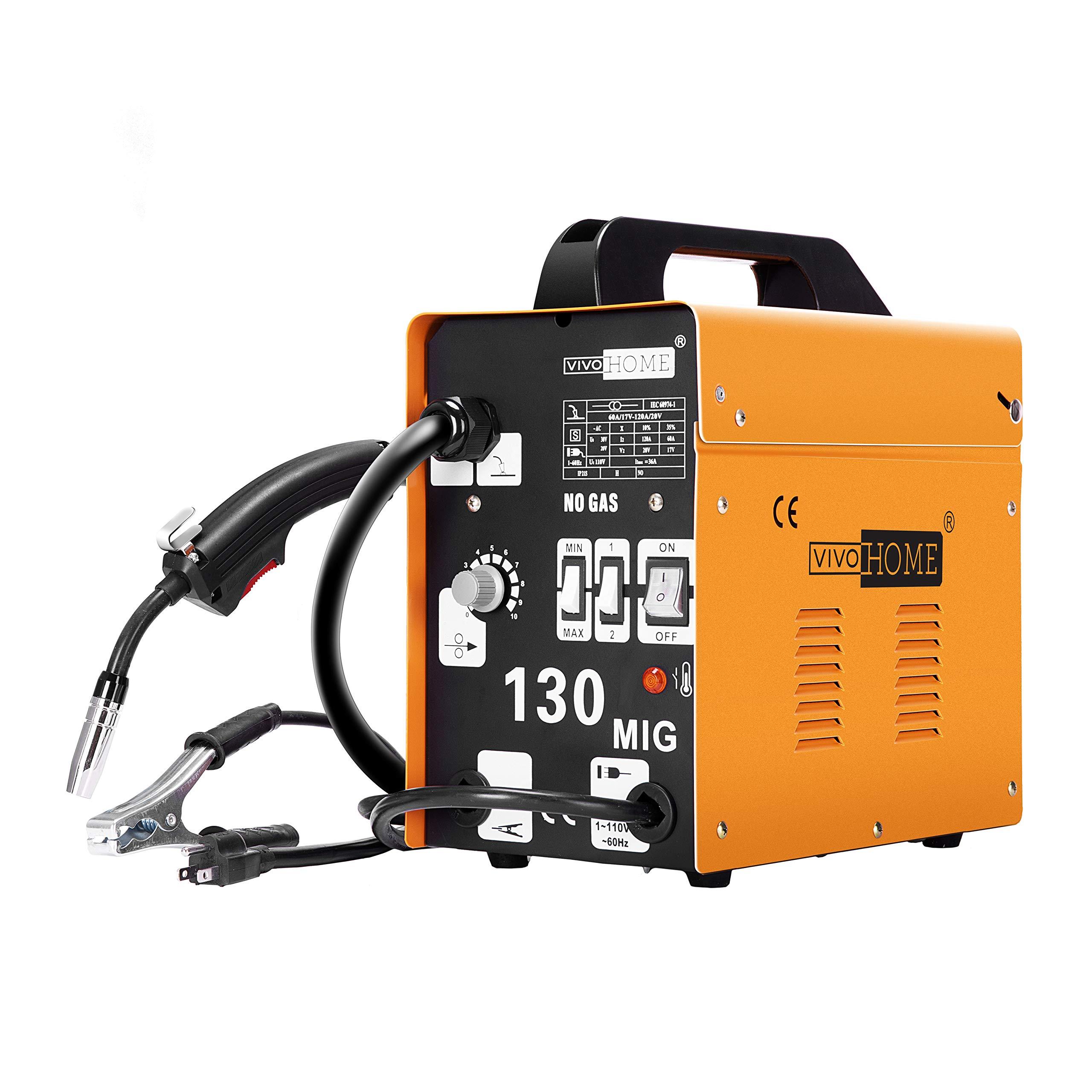 VIVOHOME Portable Flux Core Wire No Gas MIG 130 Welder Machine 110V Yellow by VIVOHOME