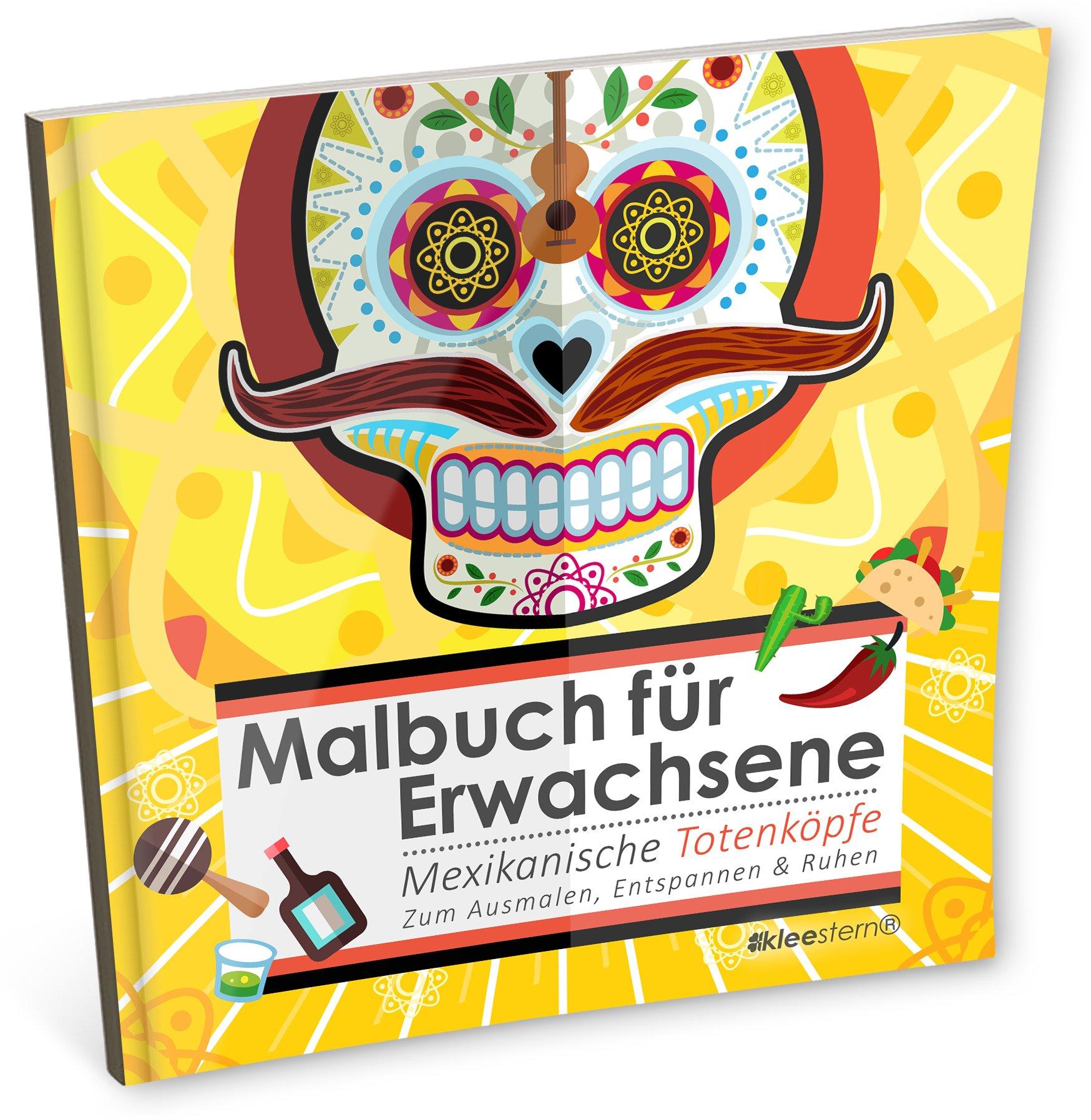 Malbuch für Erwachsene: Mexikanische Totenköpfe zum Ausmalen ...