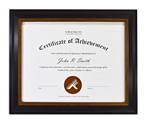 Golden State Art 8.5x11 Photo Frame for Diploma/Certificate, Black Gold & Burgundy color. Includes Real Glass & Table-top Display