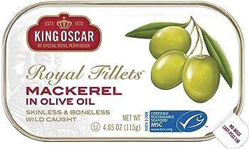 King Oscar 12-Pack of 4.05 Ounce Skinless & Boneless Mackerel Fillets