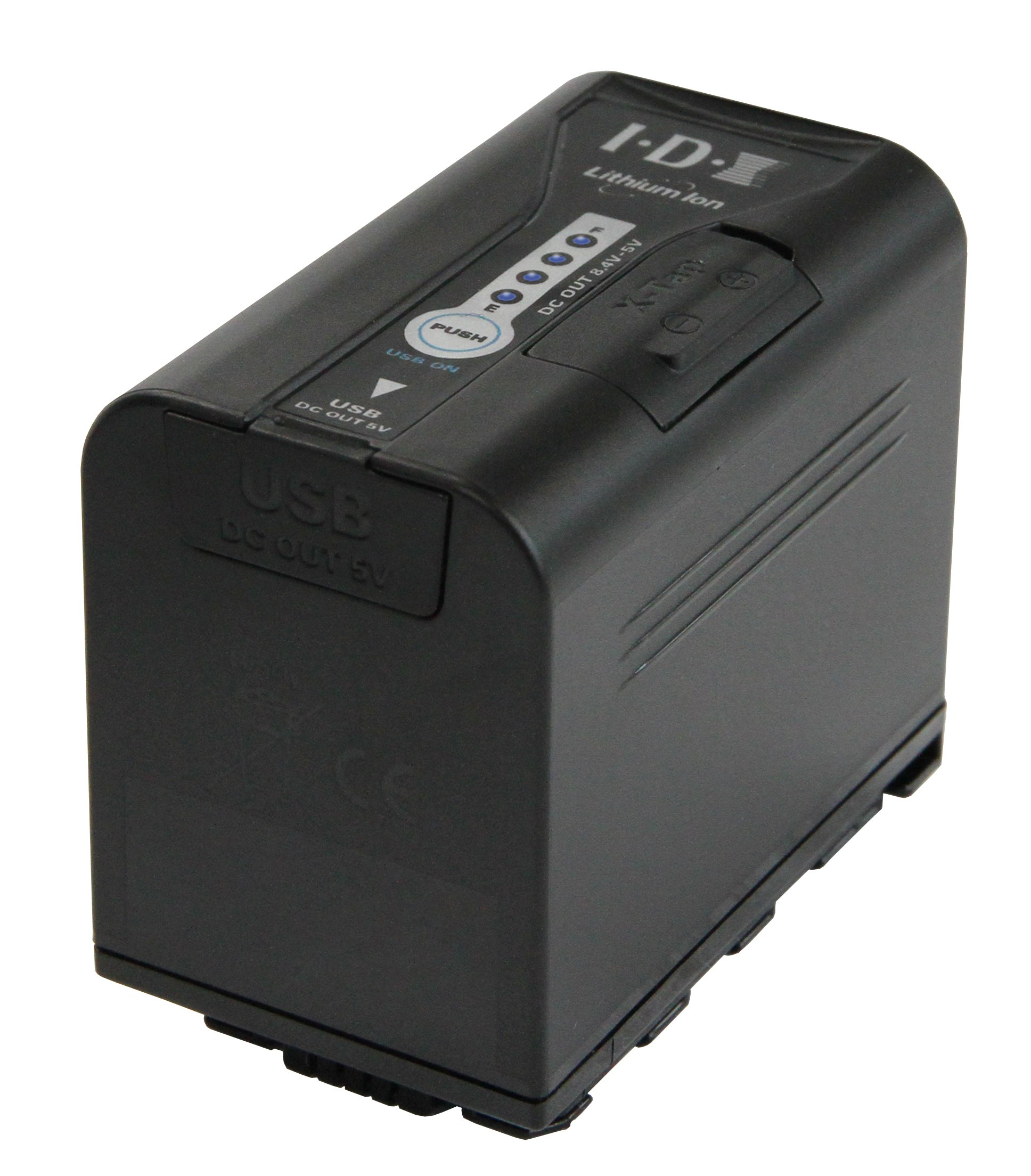High capacity battery for Panasonic AG-DVX200 camera. 4 LED power status indicator, USB & X-Tap power outputs