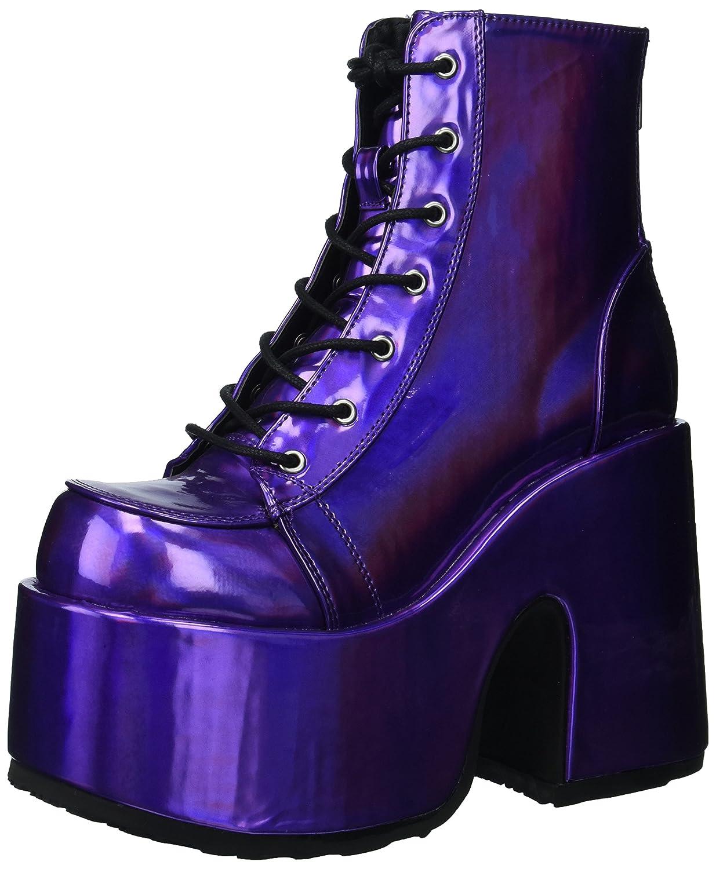 Demonia Women's Camel-203 Ankle Boot B071WT5Q18 7 B(M) US Purple Hologram Vegan Leather
