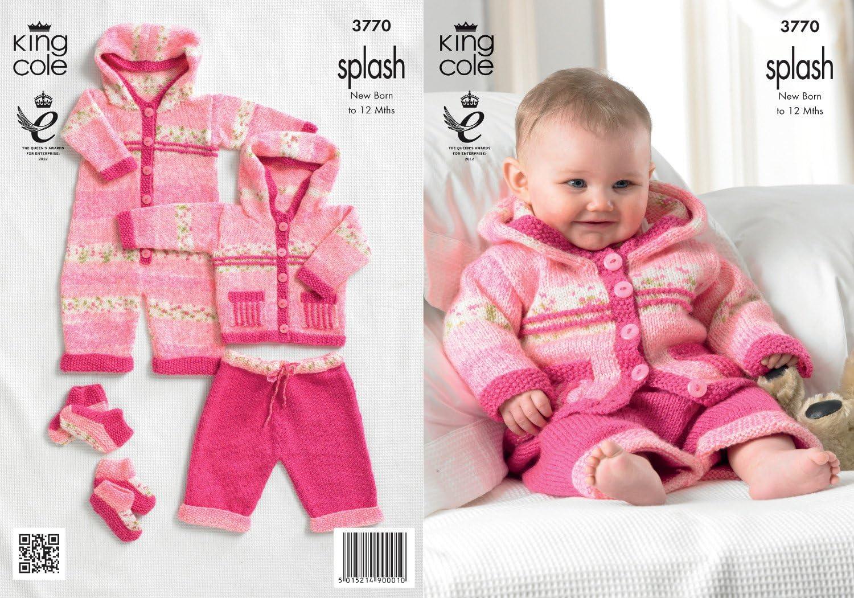 King Cole Double Knitting Pattern Baby Splash DK All In One Coat Trousers 3769