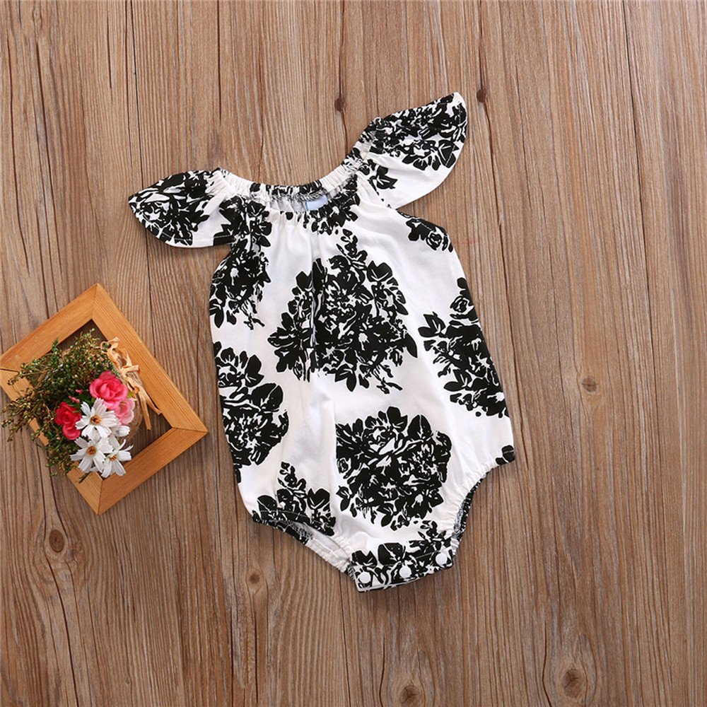Fenleo Newborn Baby Girls Floral Ruffle Sleeve Romper Playsuit Outfits