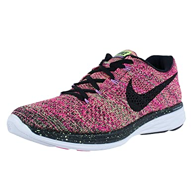 buy online 54ad1 cd0ad Nike Women s Flyknit Lunar 3 Running Shoes Pink Ghost Green Fuchsia  698182-302 Size 9  Amazon.co.uk  Clothing