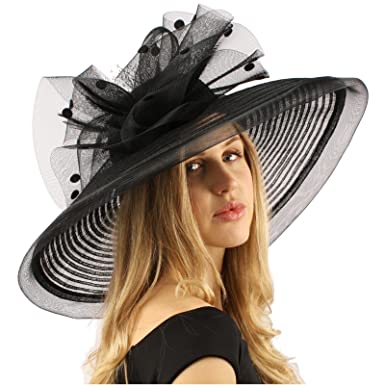 97941704fff54 Graceful Simamay Polka Dot Floral Kentucky Derby Floppy 7 quot  Brim Dress Hat  Black