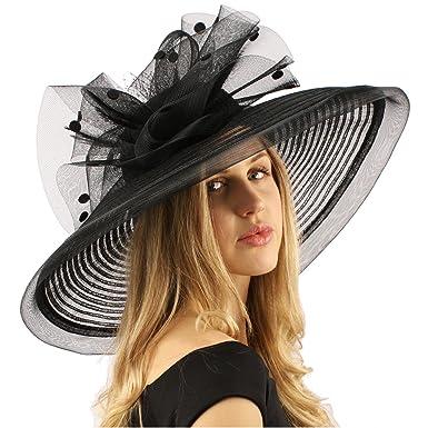 0196b9dec7210 Graceful Simamay Polka Dot Floral Kentucky Derby Floppy 7 quot  Brim Dress  Hat Black