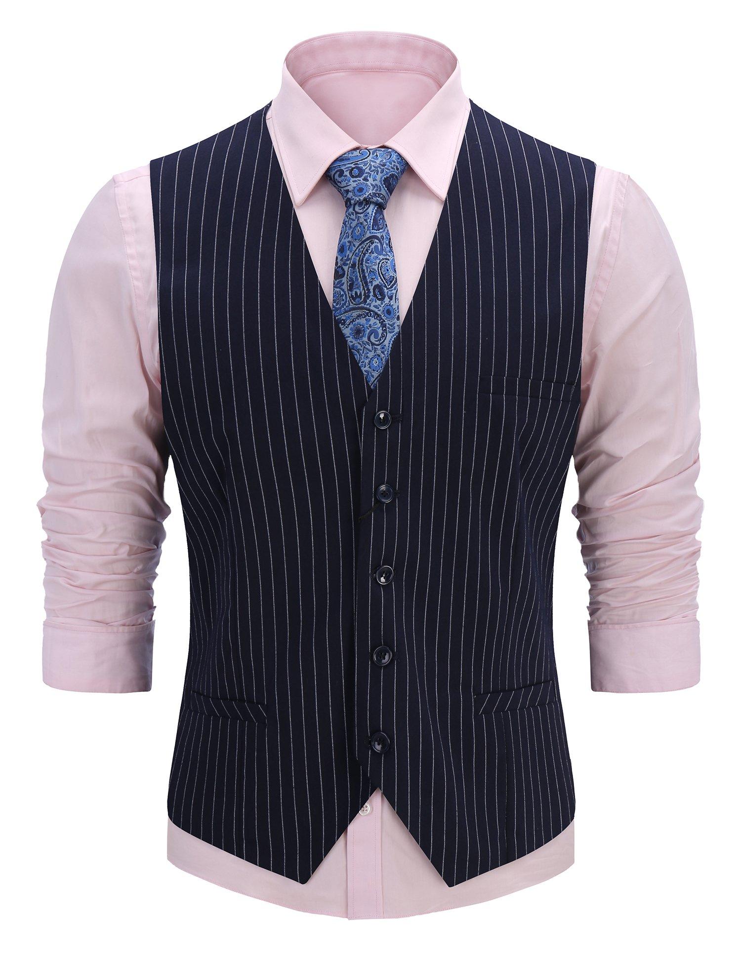FISOUL Men's Suit Vest Stripe Decoration Slim Fit Casual Business Jacket Vests
