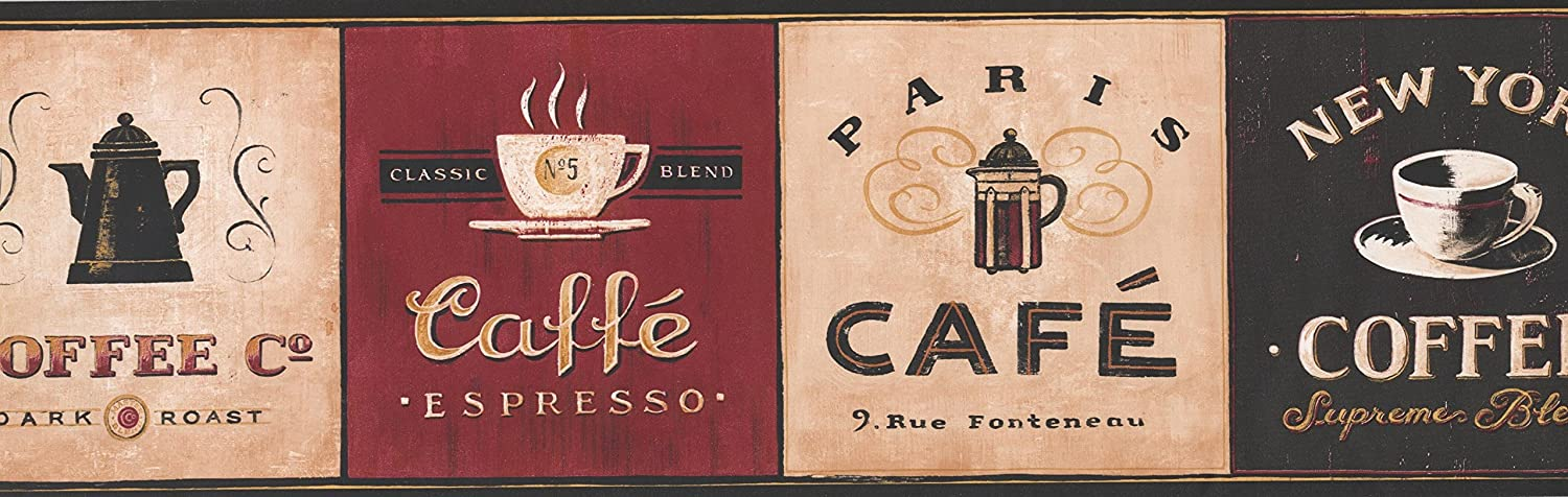 Roll 15 x 7 Coffee Places Kitchen Wallpaper Border Vintage Design