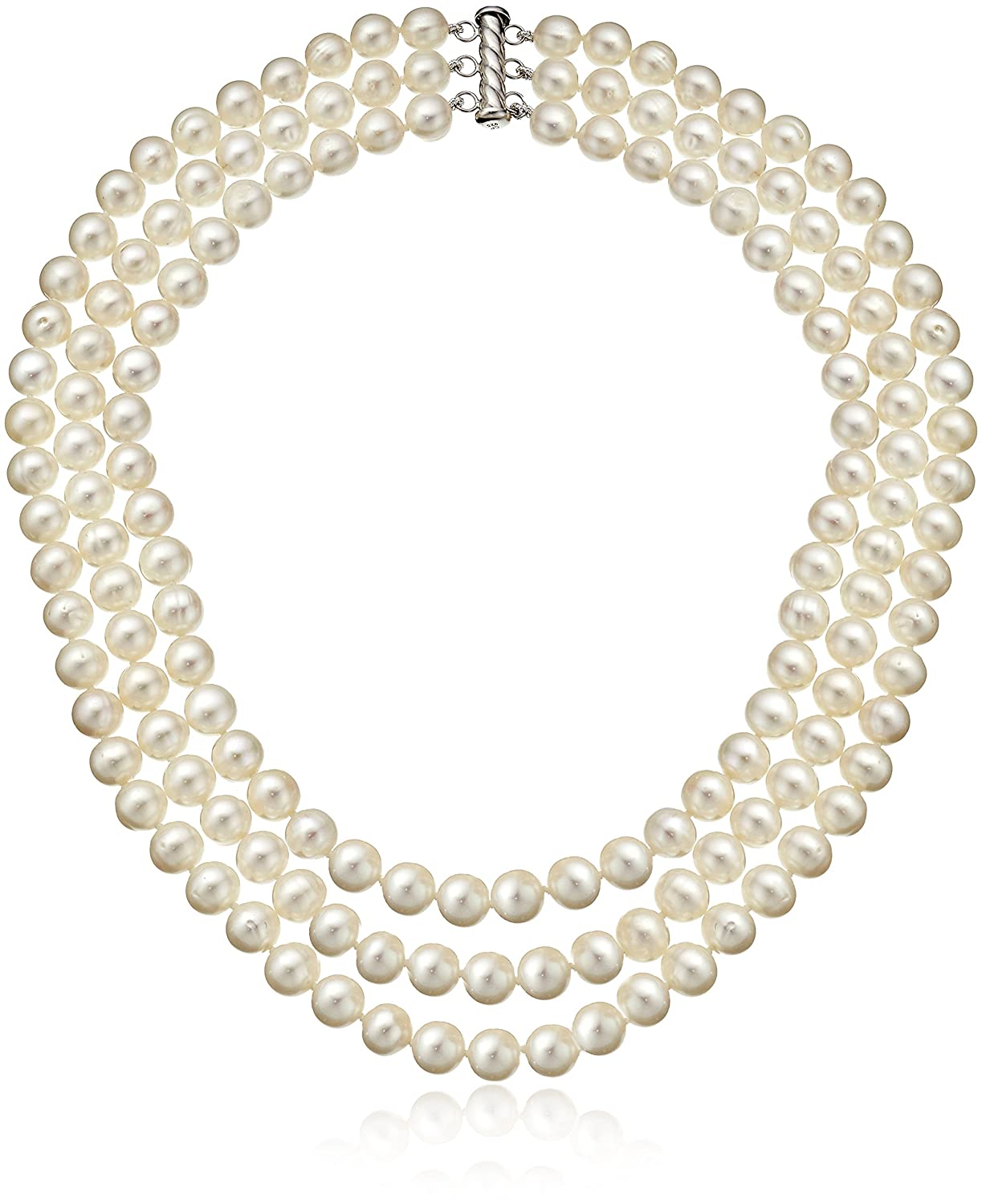 Sterling Silver 3-Row Freshwater Cultured Pearl Strand (7-7.5mm) Amazon Collection QN-11374-AMV