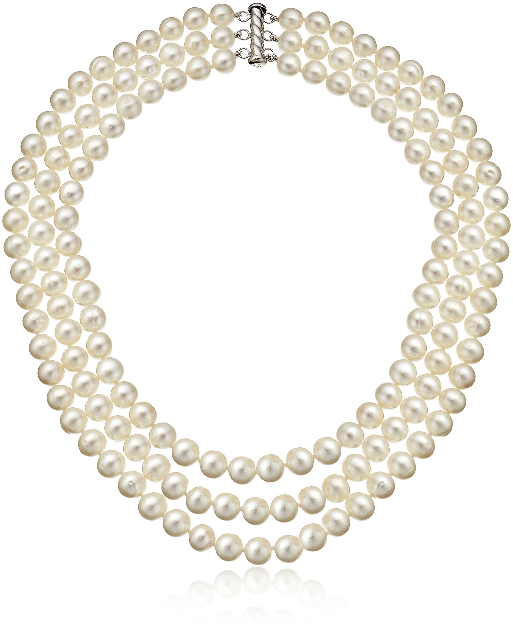 Sterling Silver 3-Row Freshwater Cultured Pearl Strand (7-7.5mm)