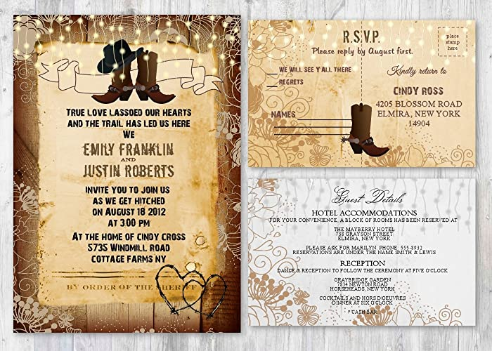 Amazon Com Western Rustic Wedding Invitations With Matching Card