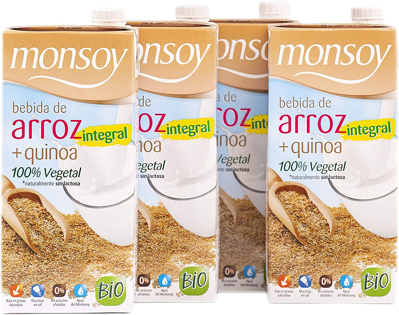 Monsoy - Bebida de Arroz Integral con Quinoa - Caja de 4 x 1L: Amazon.es: Alimentación y bebidas