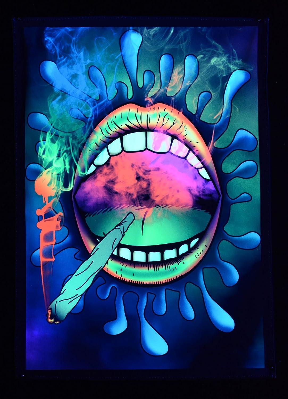 PSYWORK Schwarzlicht Stoffposter Neon Happy Joint 0,5x0,7m
