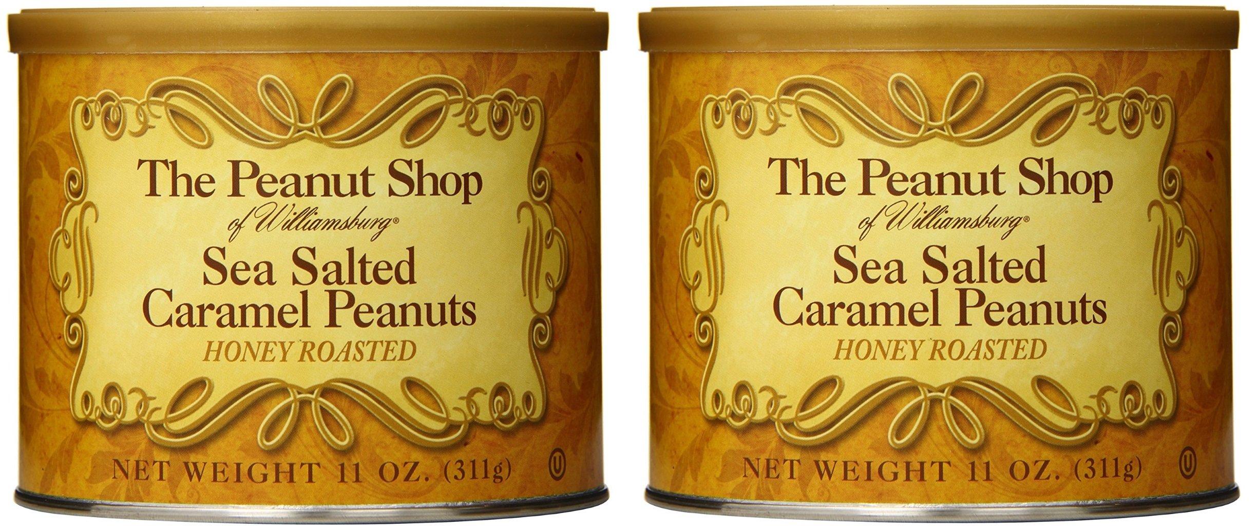 The Peanut Shop of Williamsburg Honey Roasted Sea Salted Caramel Peanuts - 11 Oz. Tin (Pack of 2)
