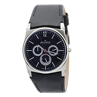 Skagen Mens 759LSLB1 Black Dial Chronograph With Black Leather Band Watch