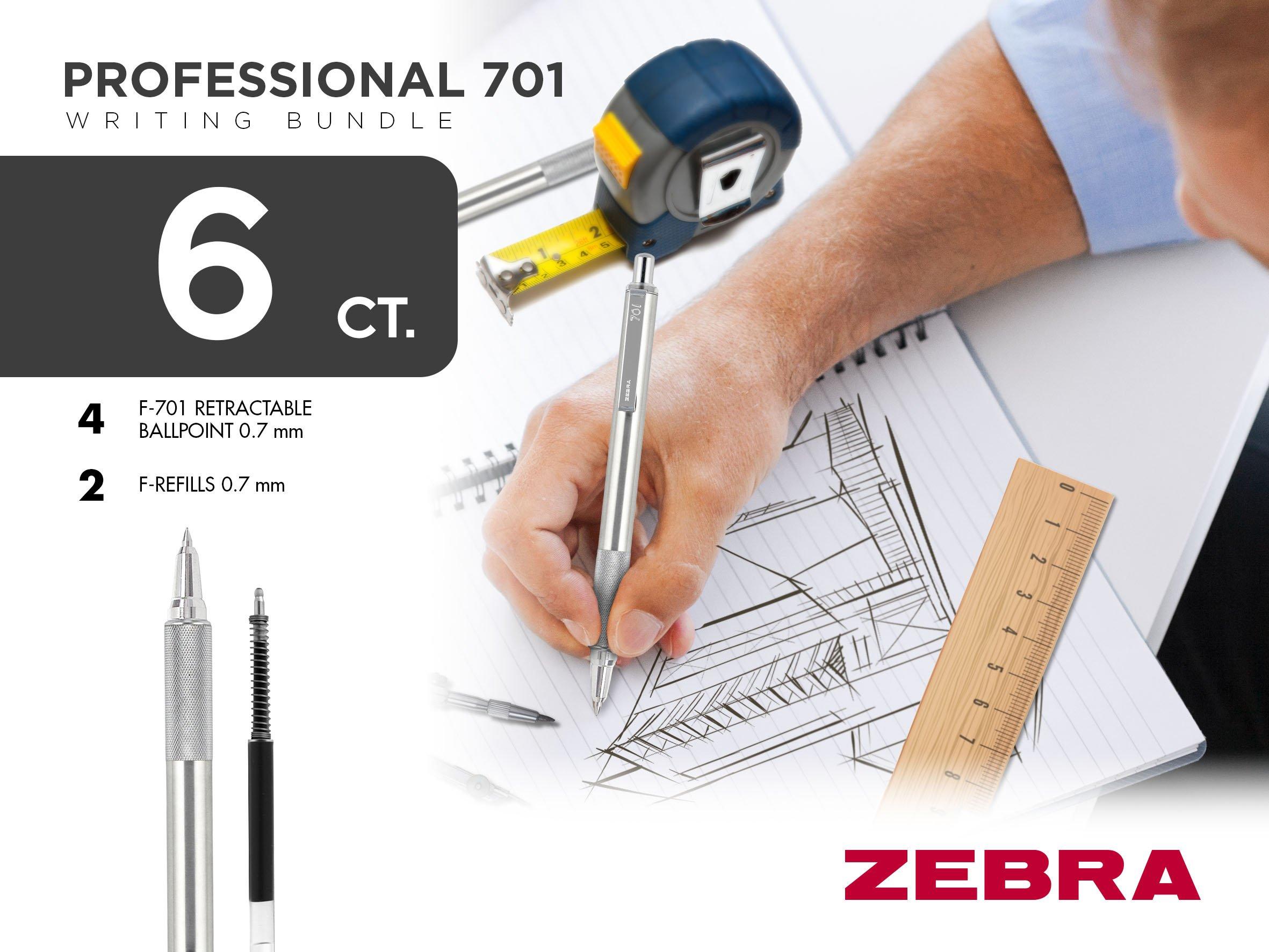 Zebra Pen 50113 Zebra Professional 701 Writing Bundle, F-701 Retractable Ballpoint Pen 0.8 mm with F-Refills 0.8mm, 6-Count by Zebra Pen (Image #2)