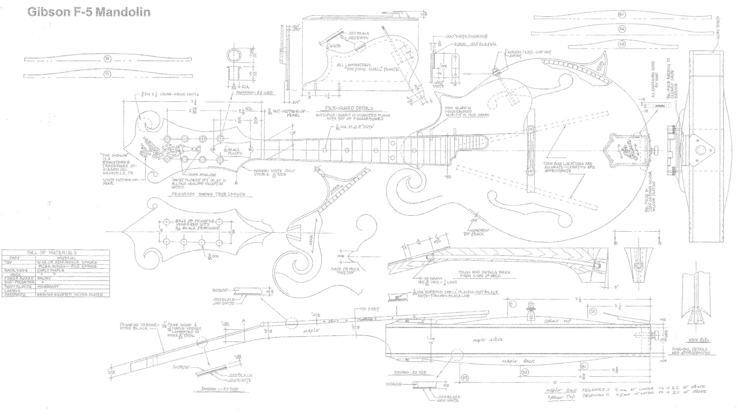 Gibson F5 Mandolin - Full Scale Design Plans - Technical Drawing - Actual Size Plans , Make Mandolins
