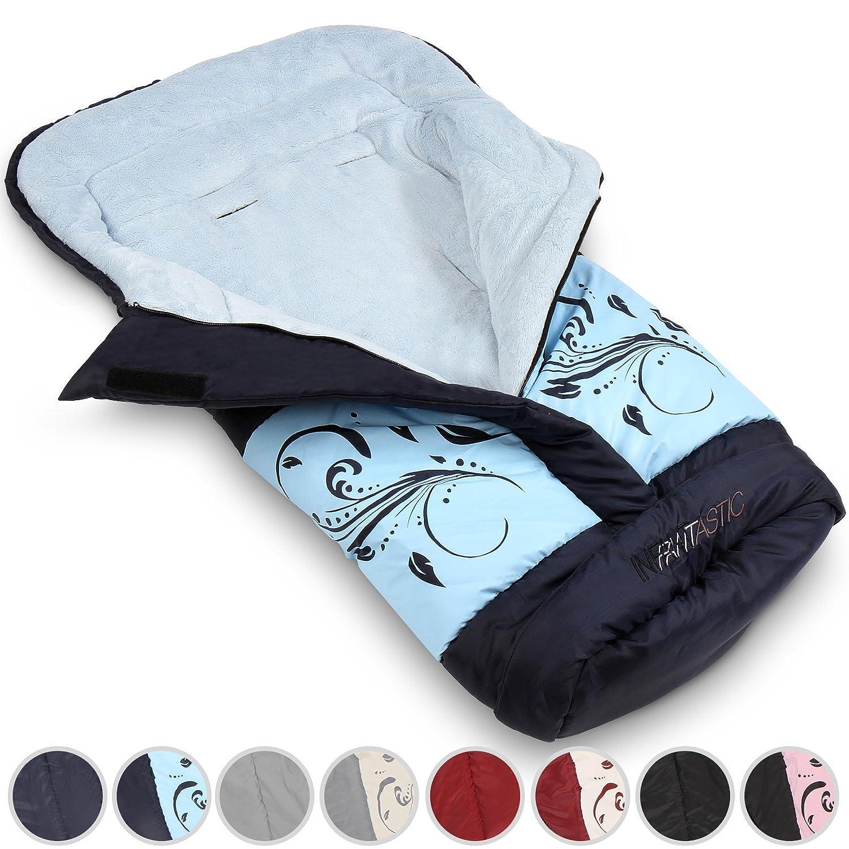 Infantastic Sacco a pelo copri gambe per passeggino invernale ca. 96/46 cm modello blu con motivo WIFS01blau_muster