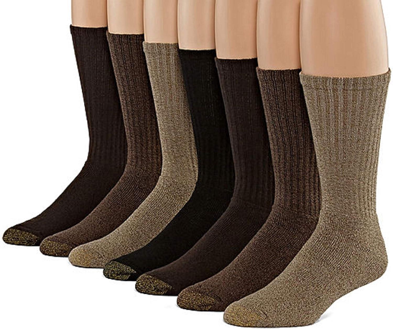 Gold Toe Men's Cotton Crew 6 Plus 1 Bonus Pack (Multi-tans), Shoe size  6-12.5