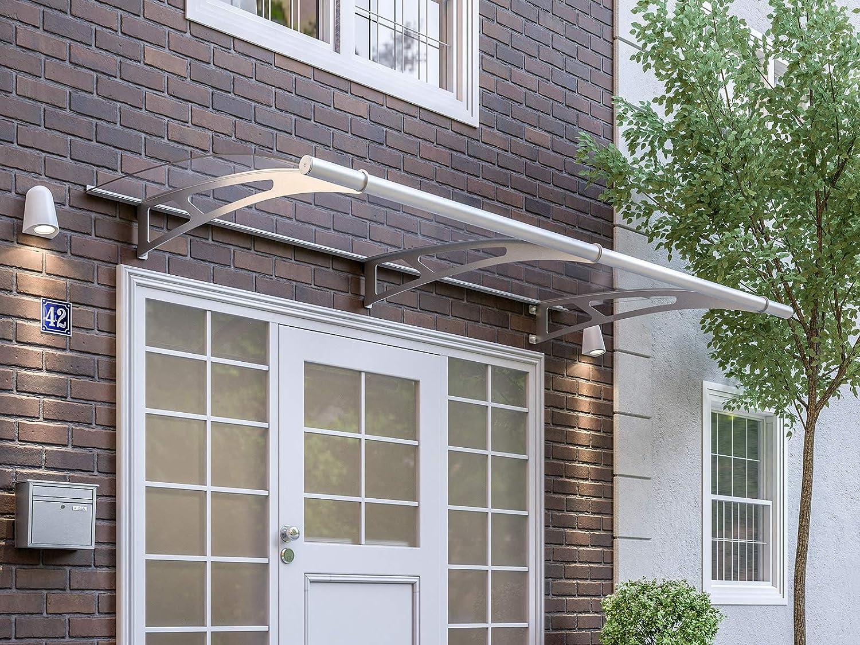 Schulte Vordach Haust/ür Edelstahl erweiterbar satinierte oder klare Platte schlagfest und robust /Überdachung XL