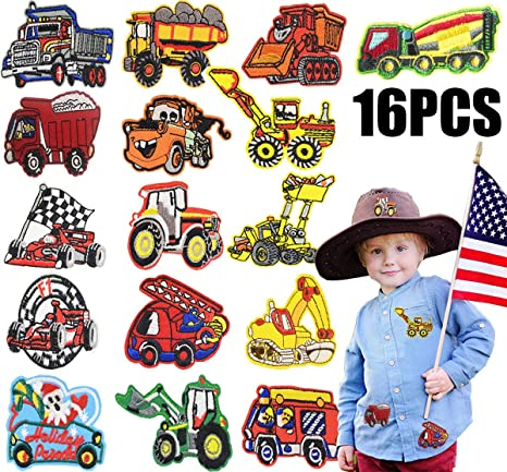2 x tractor patch boy girl jeans dress shirt clothes fabric craft iron sew on