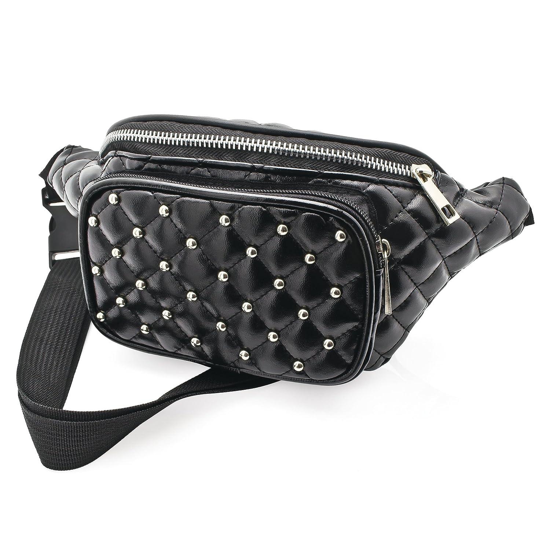 Black Padded Stud Faux Leather Waist Bag Fanny Pack Money Bum Bag Hip Belt