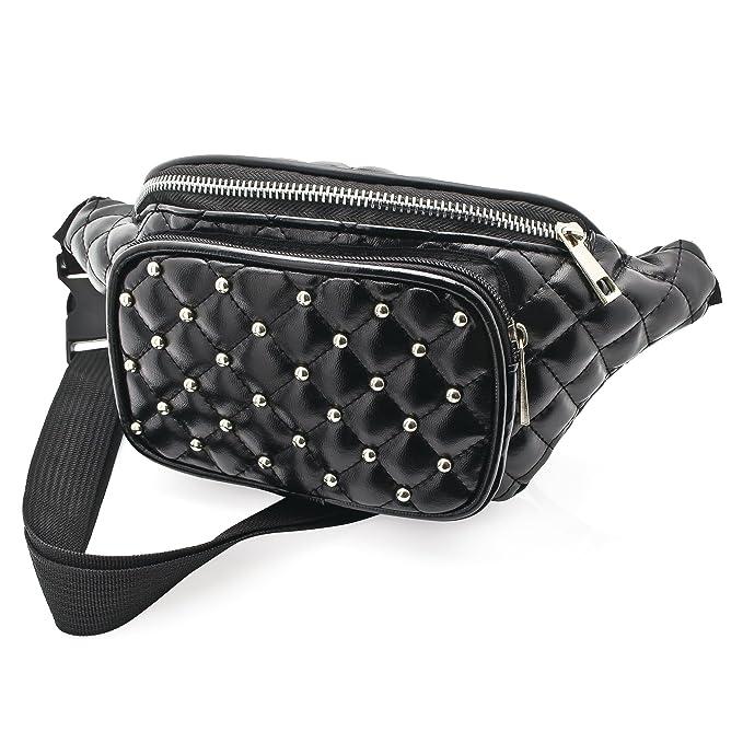 accbd499a78 Amazon.com | Black Padded Stud Faux Leather Waist Bag Fanny Pack ...