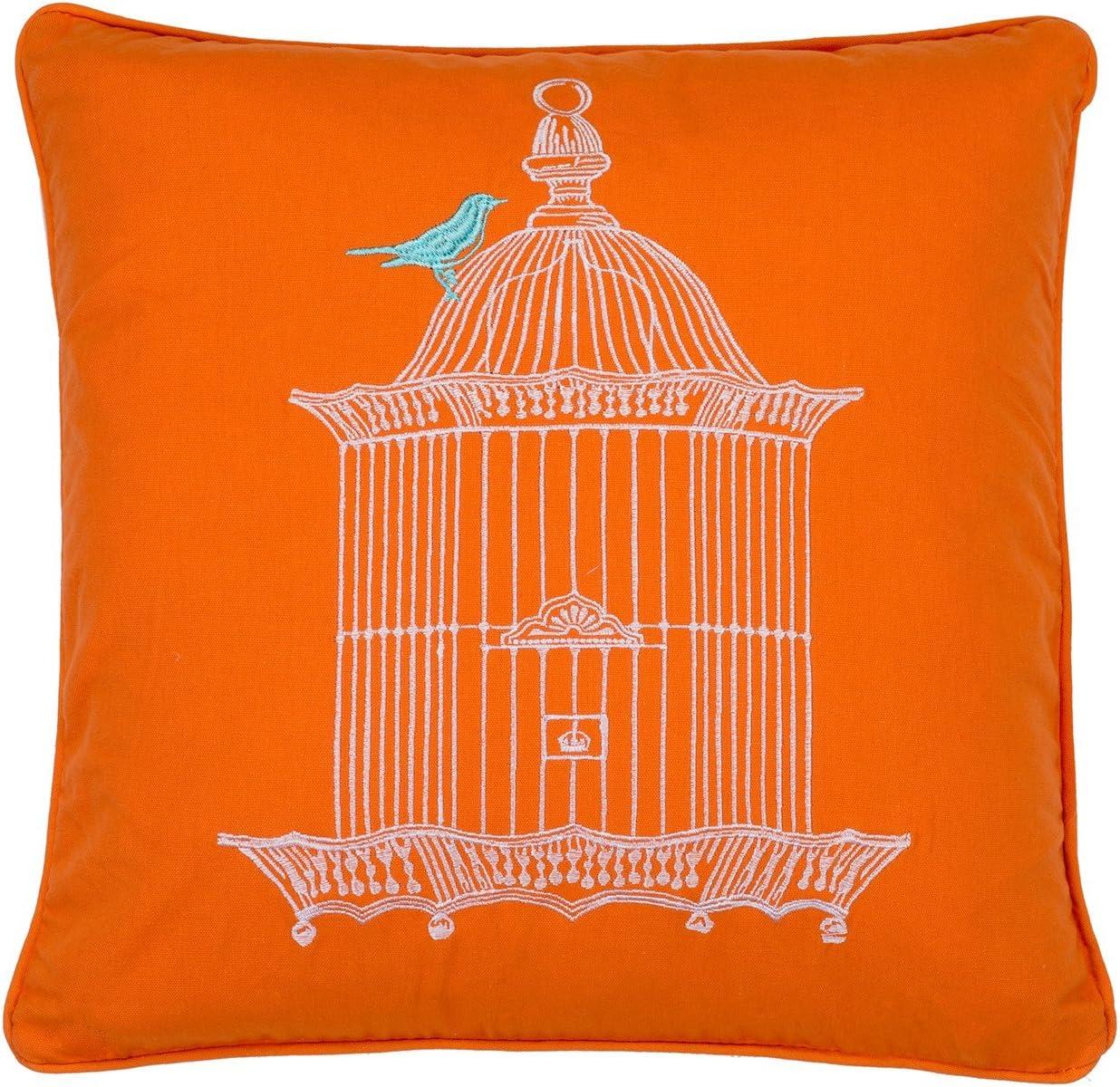 Levtex home Abigail Birdcage Pillow, 18x18, Orange