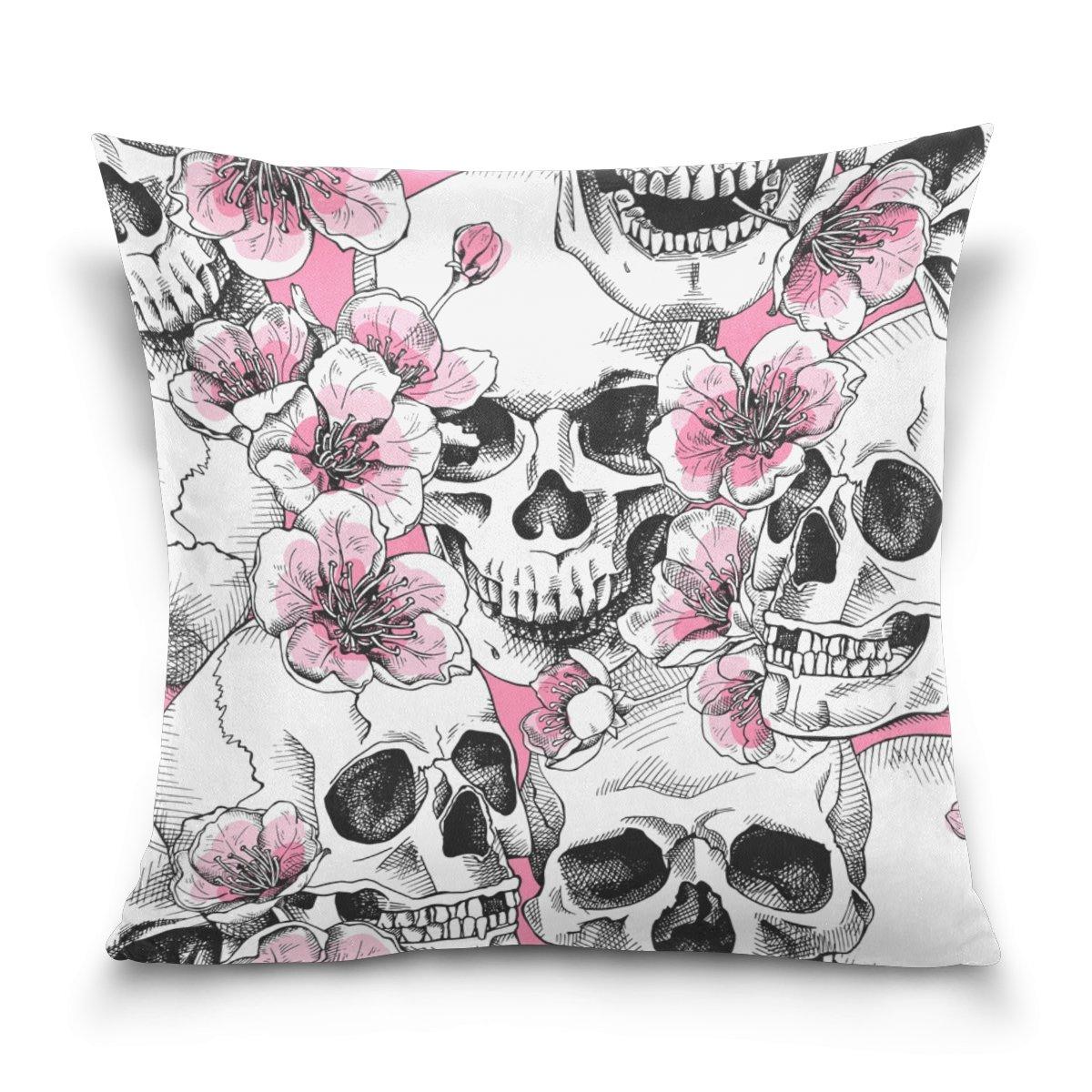 Double Sidedシームレスなパターンスカルwith花ピンクチェリーコットンベルベット枕カバー標準サイズ正方形ソファウエストスロークッションカバーホーム飾り 18x18 B075GQFF5R 18x18|Multicolour-skull Multicolour-skull 18x18