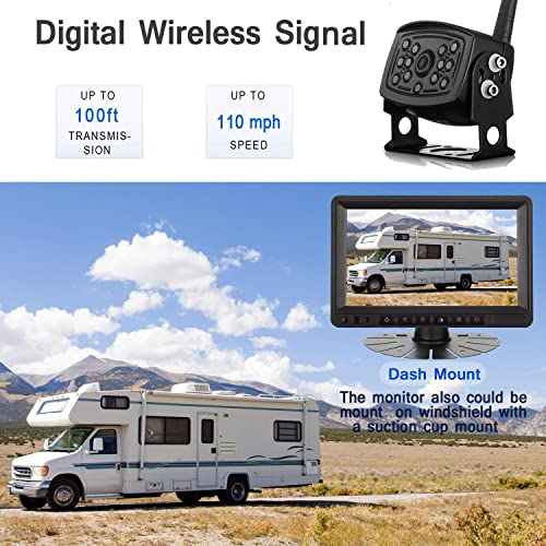 Amtifo Digital Wireless Backup Camera and 7 Monitor For RVs,Trucks,Trailers,High-Speed Observation System With Stable Signal ,Adjustable Rear Front View Camera, Guide Lines ON Off, IP69K Waterproof