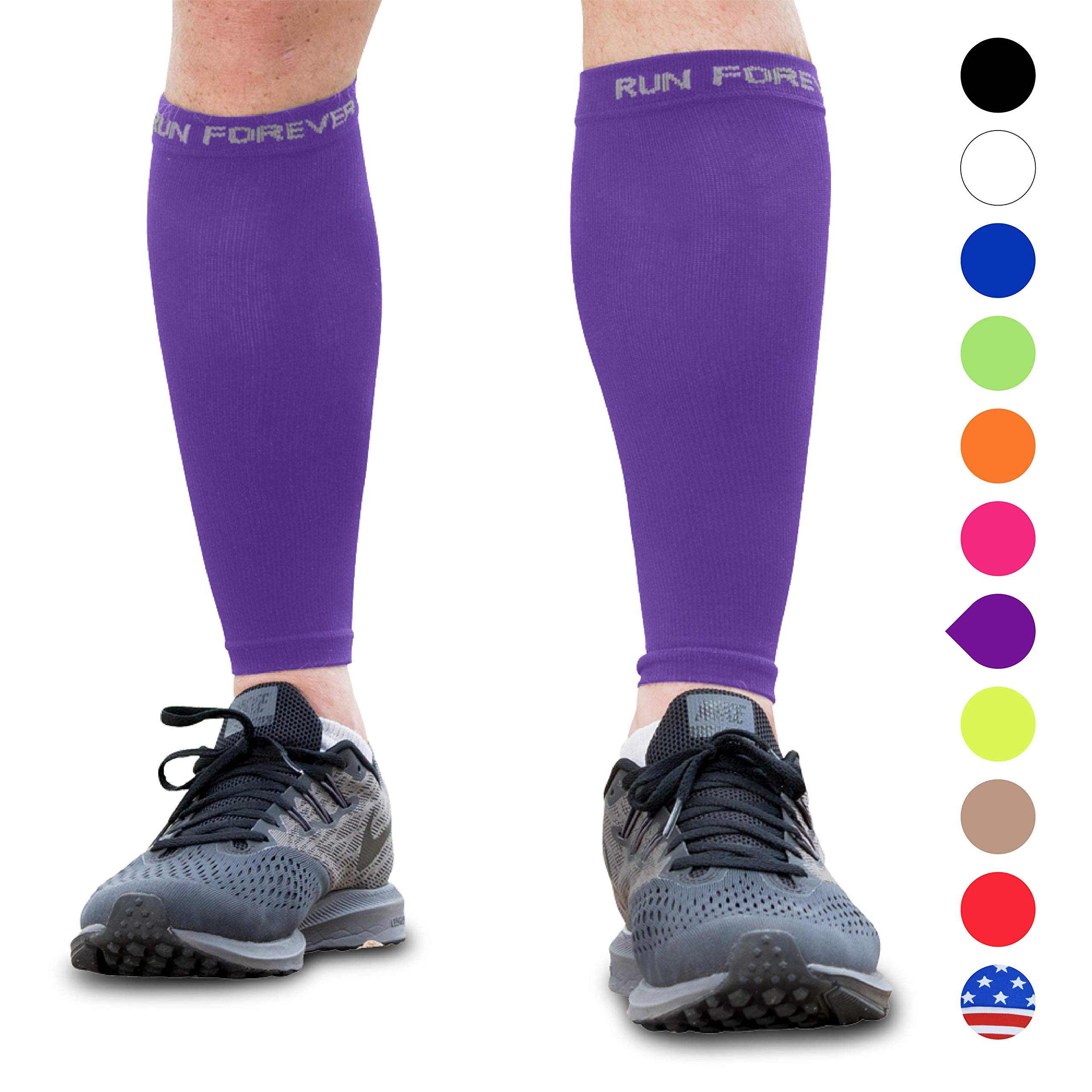 Calf Compression Sleeves - Leg Compression Socks for Runners, Shin Splint, Varicose Vein & Calf Pain Relief - Calf Guard Great for Running, Cycling, Maternity, Travel, Nurses (Purple, Medium) by Run Forever Sports