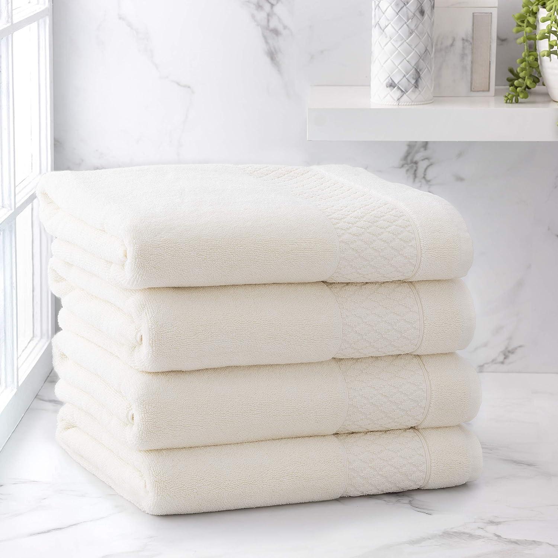 Welhome Hudson 100% Pure Organic Cotton 4 Piece Bath Towels   Cream   Eco Friendly   Plush   Durable & Absorbent   Hotel & Spa Decorative Bathroom Towel   651 GSM   Machine Washable