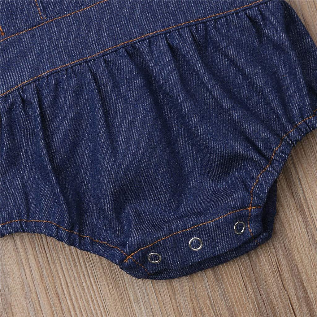 EnjoCho Toddler Baby Kids Girls Solid Fly Sleeve Ruched Denim Romper Bodysuit Clothes