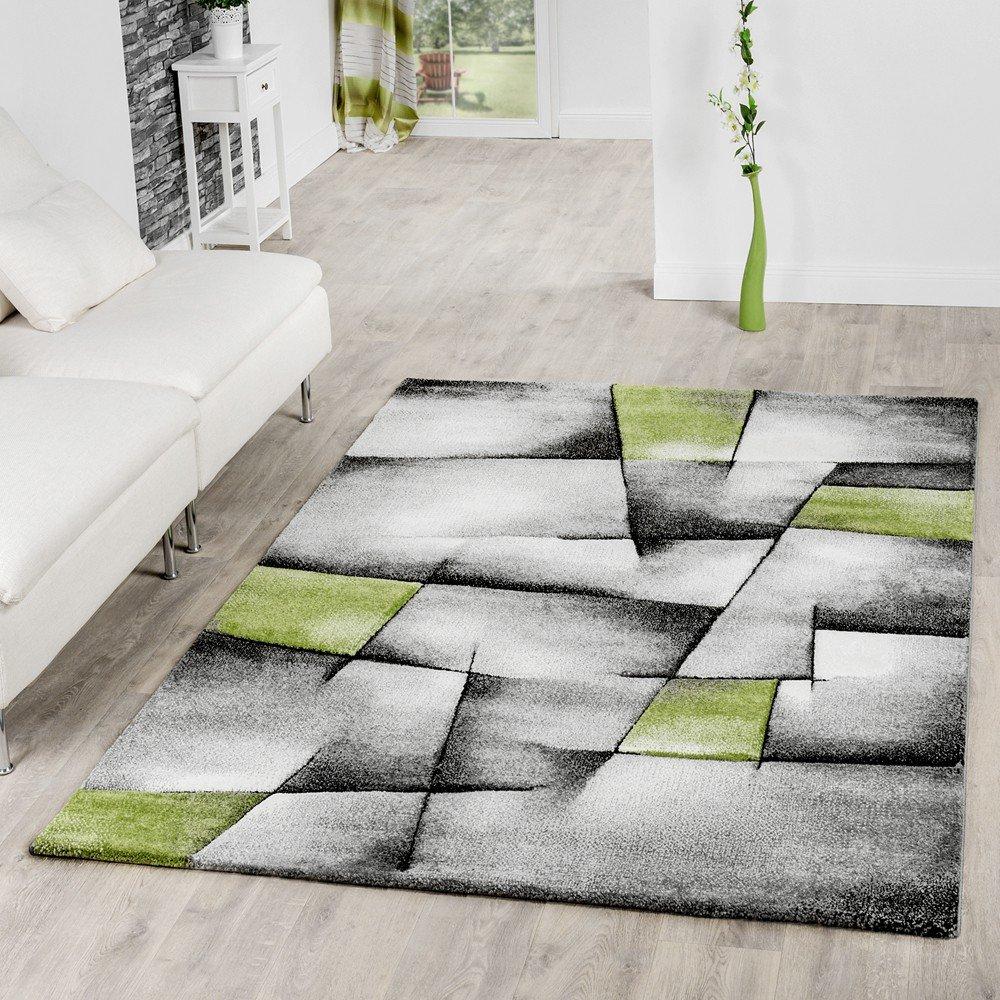 T&T Design Teppich Grau Grün Wohnzimmer Teppiche Madeira Konturenschnitt Optik Ausverkauf, Größe 160x230 cm