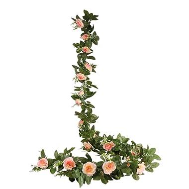 O-heart 2PCS(15.7 FT) Fake Rose Vine Artificial Silk Flowers Garland Hanging Rose Ivy Plants for Wedding Backdrop Baby Shower Home Decor