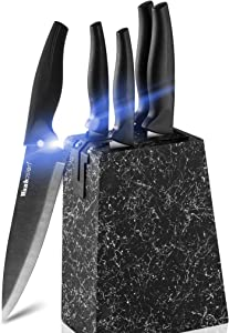 Wanbasion Marbling Black Kitchen Knife Set Block, Kitchen Knife Set Block Wood, Professional Kitchen Knife Set Block with Knife Sharpener