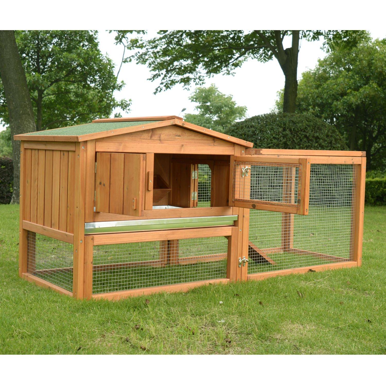 PawHut 62'' Outdoor Guinea Pig Pet House/Rabbit Hutch Habitat with Run