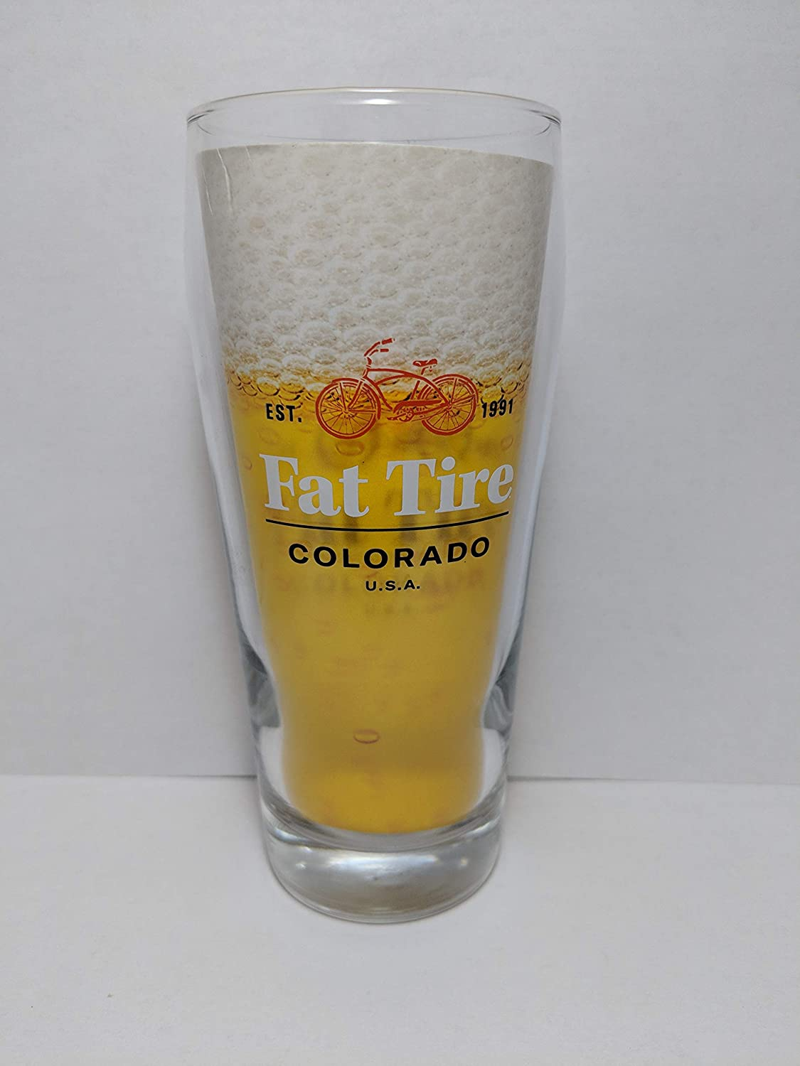 NEW BELGIUM Fat Tire Amber Ale PINT GLASS Vintage Beer Glass Lot Of 2