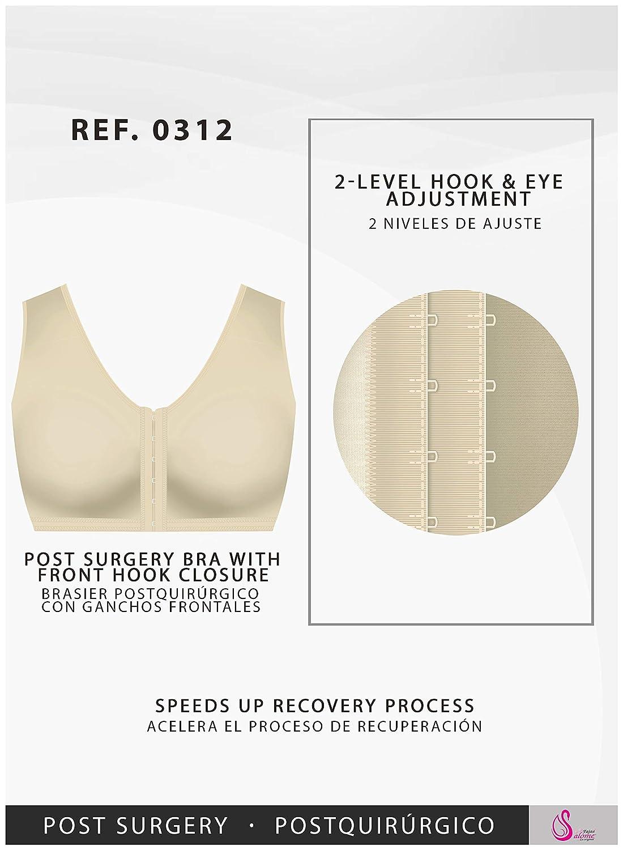 Salome 0312 Sujetador Postoperatorio Reductor Mujer Control Espalda Postparto Mastectomia Broche Frontal Beige M/34: Amazon.es: Ropa y accesorios