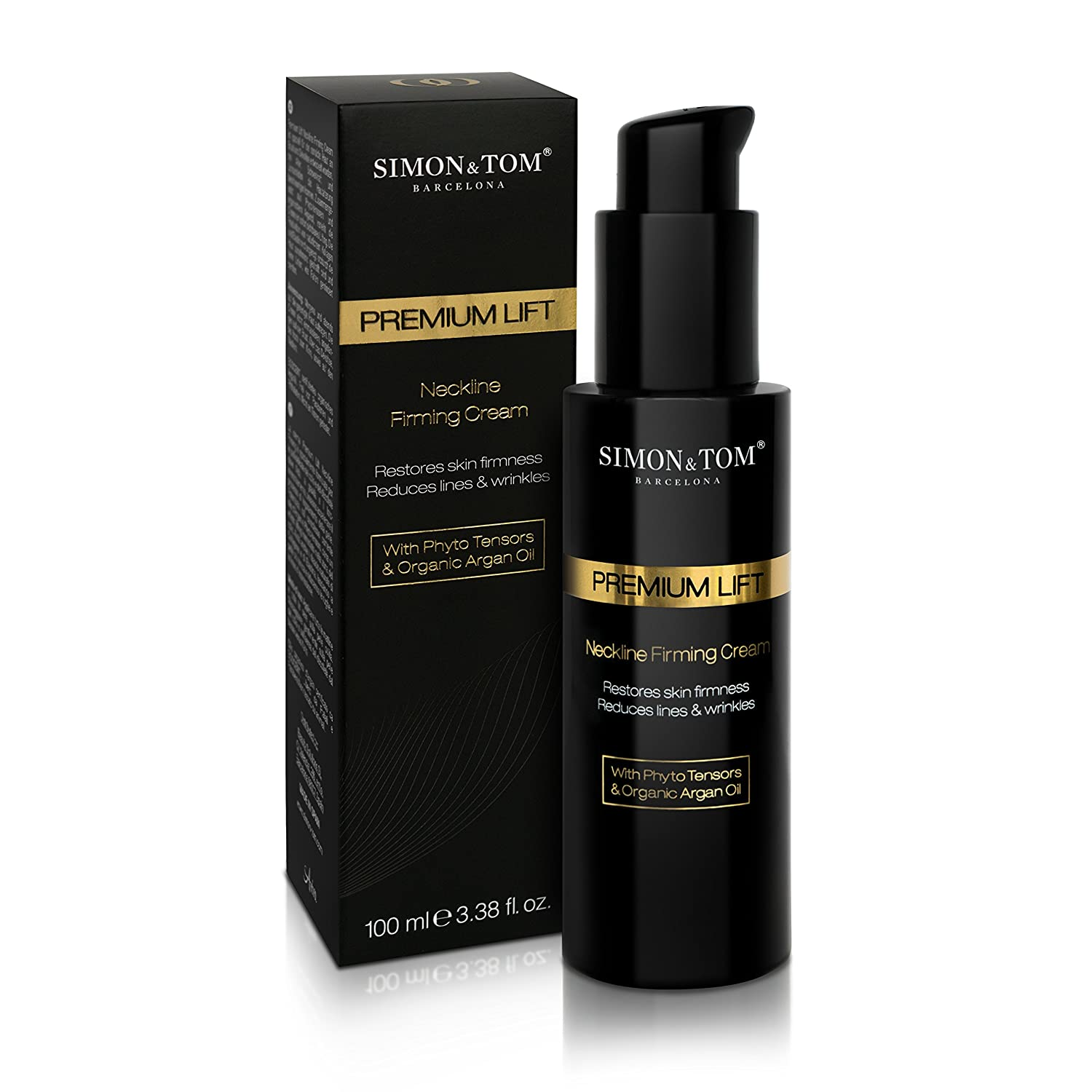Simon & Tom Premium Lift Neckline Firming Cream - Firming & Lifting Sagging Skin on Neck and Décolleté with Argan Oil & Firming Phyto-Tensors -Smooths Fine Lines & Wrinkles 100ml / 3.38 fl.oz.