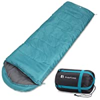 Endor Forest Envelope Sleeping Bag - Single - 3-4 Season - Suitable for Adults and Kids Outdoor Camping - Lightweight, Compact and Water Resistant - High Quality for a Comfortable Warm Sleep
