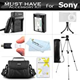 """Essential Accessories Kit For Sony Cyber-shot DSC-HX200V, DSC-HX100V Digital Camera Includes Extended Replacement (1000 maH) NP-FH50 Battery + AC/DC Travel Charger + Case + 50"""" Tripod w/Case + More"""
