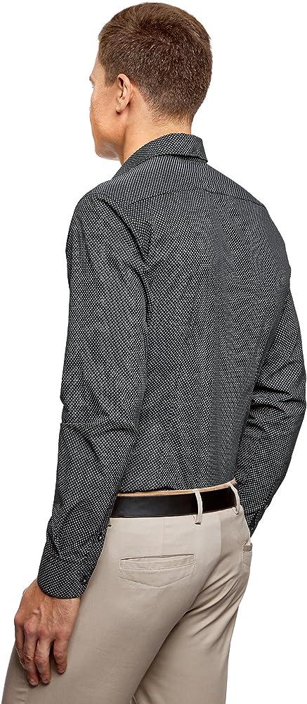 oodji Ultra Hombre Camisa de Algodón con Decoración Gráfica ...