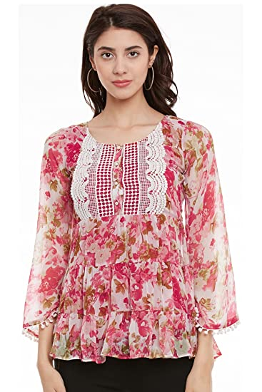 44c956b2144d93 The Vanca Women s Bohemian top with printed layers and flayered sleeve