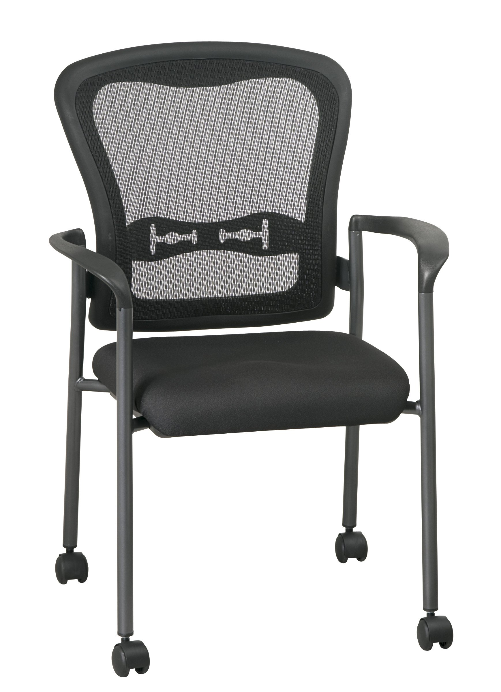 Office Star Breathable ProGrid Back and FreeFlex Coal Seat with Arms and Lumbar Supprt Stacking Chair with Casters, Titanium Finish
