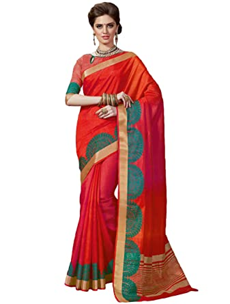 a99362906e304 Amazon.com  Adorable Red Tussar Silk Traditional Saree  Clothing