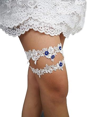 Choose Rhinestone or Pearl Sky Blue /& White Wedding Garter Set