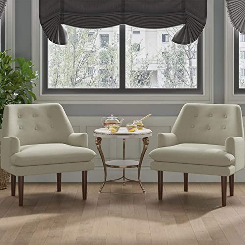 JustRoomy Mid-Century Modern Accent Chairs Set of 2 Fabric Armchairs